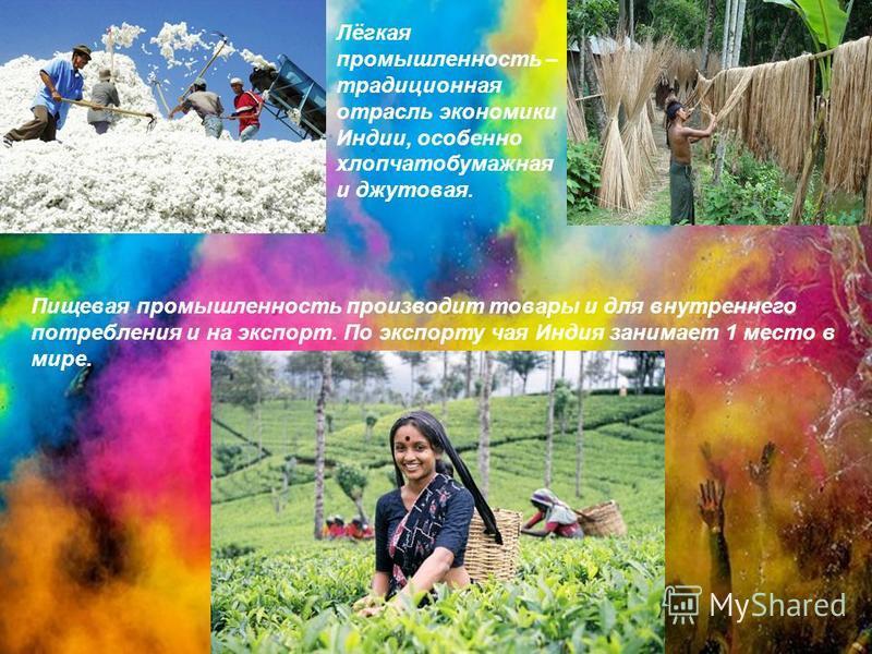 Пищевая промышленность производит товары и для внутреннего потребления и на экспорт. По экспорту чая Индия занимает 1 место в мире. Лёгкая промышленность – традиционная отрасль экономики Индии, особенно хлопчатобумажная и джутовая.