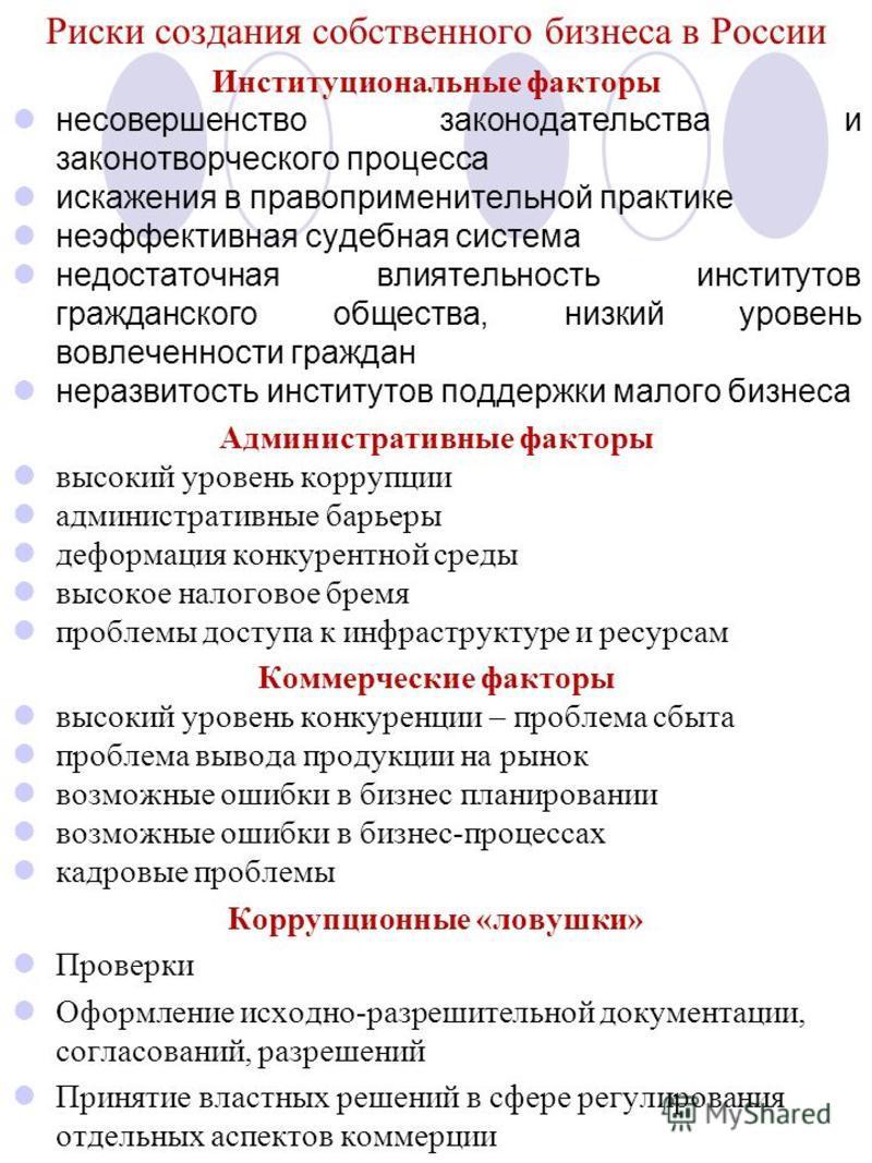 Риски создания собственного бизнеса в России Институциональные факторы несовершенство законодательства и законотворческого процесса искажения в правоприменительной практике неэффективная судебная система недостаточная влиятельность институтов граждан