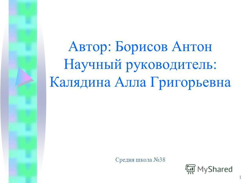 Автор: Борисов Антон Научный руководитель: Калядина Алла Григорьевна 1 Средня школа 38