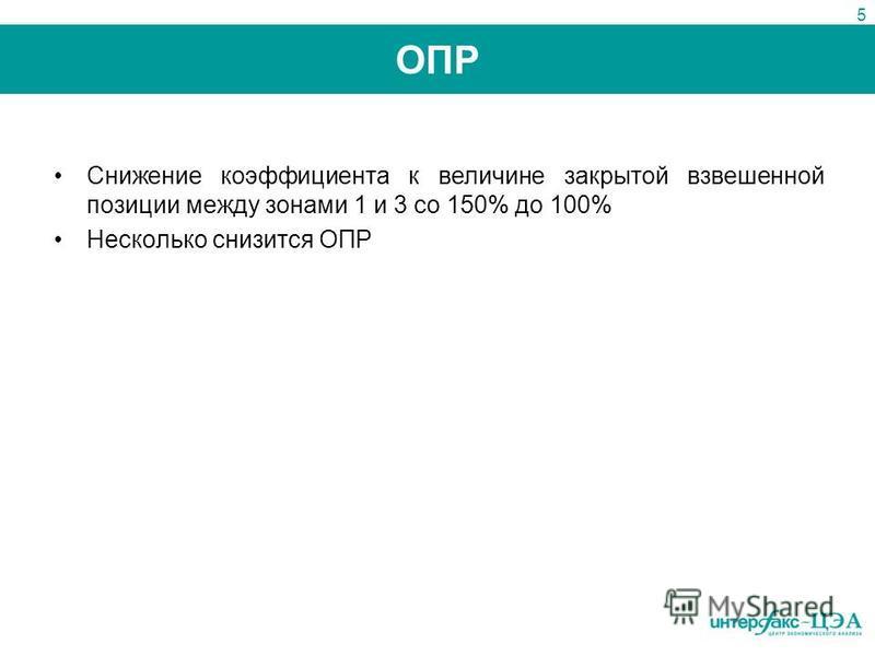 ОПР Снижение коэффициента к величине закрытой взвешенной позиции между зонами 1 и 3 со 150% до 100% Несколько снизится ОПР 5