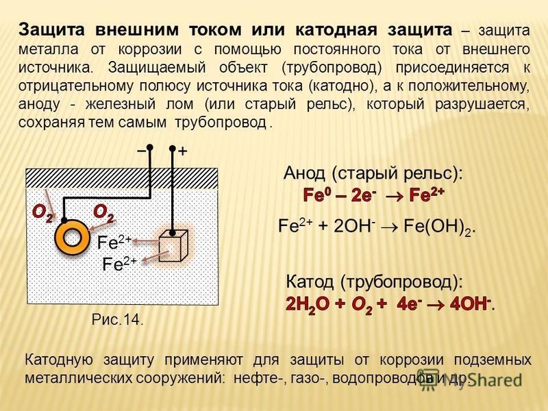 Защита внешним током или катодная защита – защита металла от коррозии с помощью постоянного тока от внешнего источника. Защищаемый объект (трубопровод) присоединяется к отрицательному полюсу источника тока (катодно), а к положительному, аноду - желез