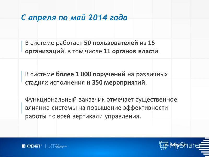 ИС «Вертикаль» С апреля по май 2014 года В системе работает 50 пользователей из 15 организаций, в том числе 11 органов власти. В системе более 1 000 поручений на различных стадиях исполнения и 350 мероприятий. Функциональный заказчик отмечает существ