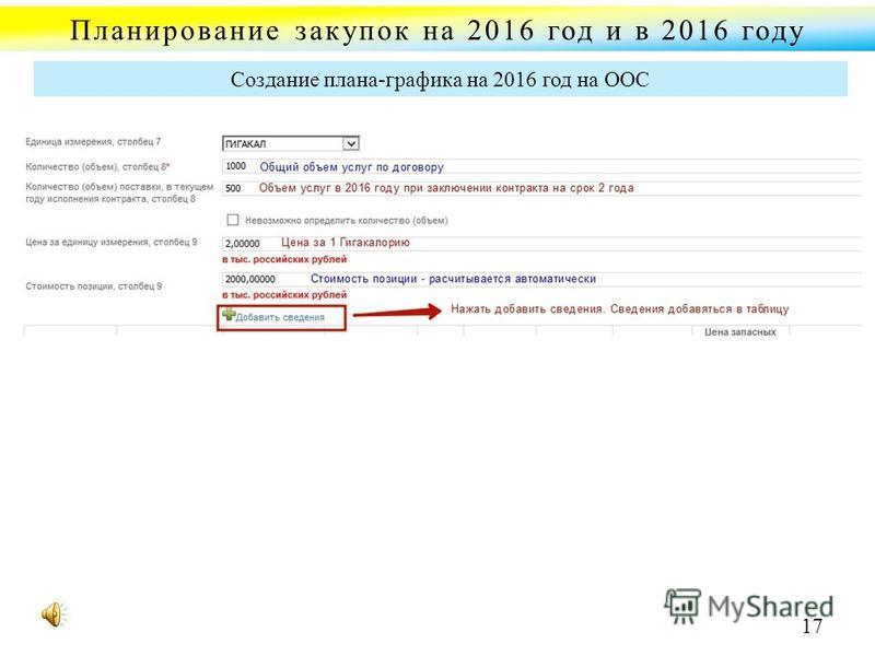 Планирование закупок на 2016 год и в 2016 году Создание плана-графика на 2016 год на ООС 17