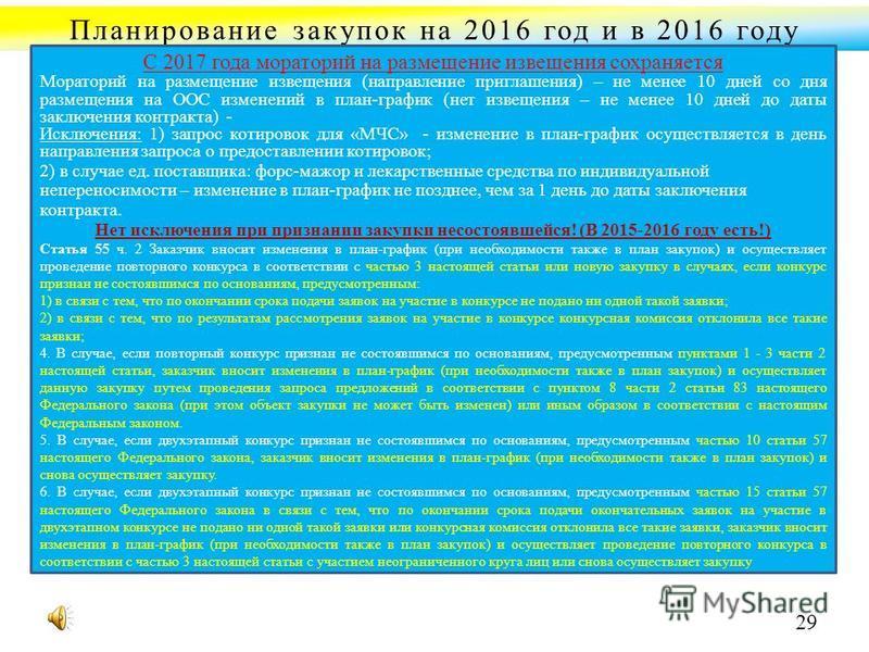Планирование закупок на 2016 год и в 2016 году С 2017 года мораторий на размещение извещения сохраняется Мораторий на размещение извещения (направление приглашения) – не менее 10 дней со дня размещения на ООС изменений в план-график (нет извещения –