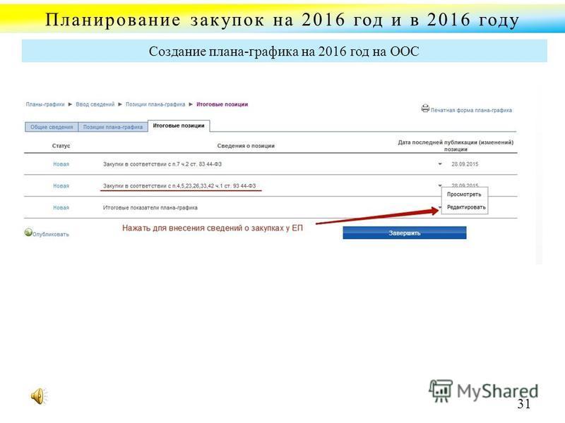Планирование закупок на 2016 год и в 2016 году Создание плана-графика на 2016 год на ООС 31