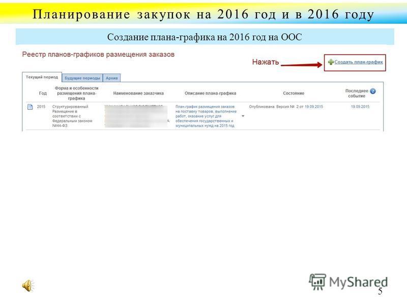 Планирование закупок на 2016 год и в 2016 году Создание плана-графика на 2016 год на ООС 5