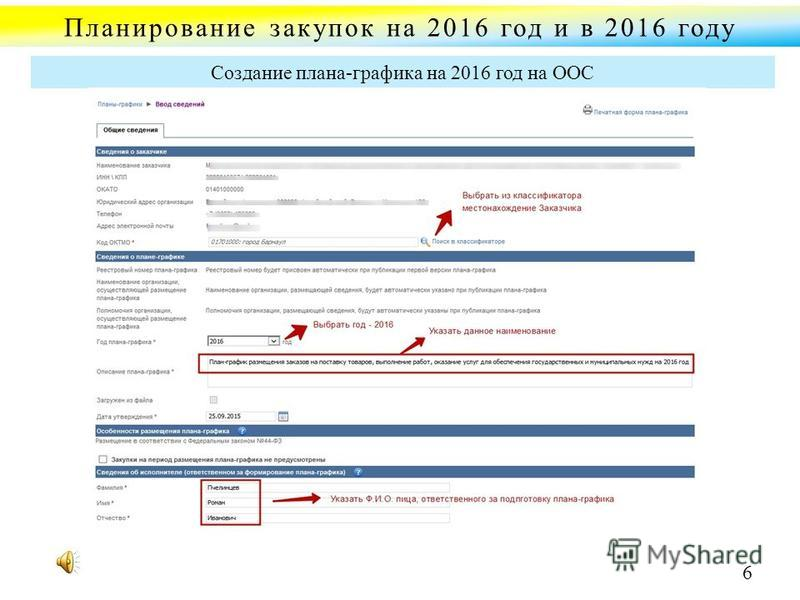 Планирование закупок на 2016 год и в 2016 году Создание плана-графика на 2016 год на ООС 6