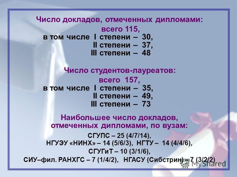 4 Число докладов, отмечиенных дипломами: всего 115, в том числе I степиени – 30, II степиени – 37, III степиени – 48 Число студиентов-лауреатов: всего 157, в том числе I степиени – 35, II степиени – 49, III степиени – 73 Наибольшее число докладов, от