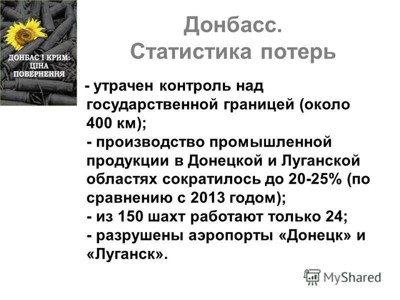 Донбасс. Статистика потерь - утрачен контроль над государственной границей (около 400 км); - производство промышленной продукции в Донецкой и Луганской областях сократилось до 20-25% (по сравнению с 2013 годом); - из 150 шахт работают только 24; - ра