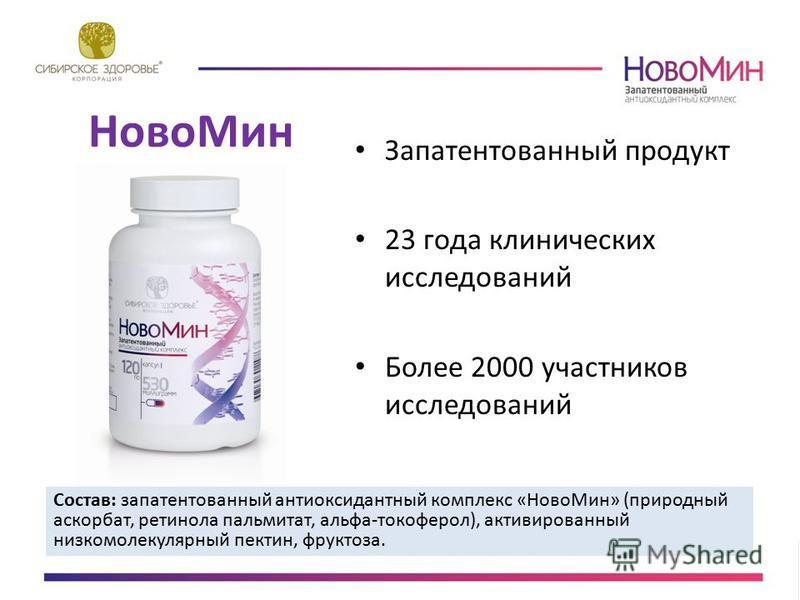 Ново Мин Запатентованный продукт 23 года клинических исследований Более 2000 участников исследований Состав: запатентованный антиоксидантный комплекс «Ново Мин» (природный аскорбат, ретинола пальмитат, альфа-токоферол), активированный низкомолекулярн