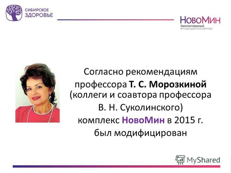 Согласно рекомендациям профессора Т. С. Морозкиной (коллеги и соавтора профессора В. Н. Суколинского) комплекс Ново Мин в 2015 г. был модифицирован