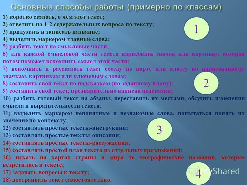 1) коротко сказать, о чем этот текст; 2) ответить на 1-2 содержательных вопроса по тексту; 3) придумать и записать название; 4) выделить маркером главные слова; 5) разбить текст на смысловые части; 6) для каждой смысловой части текста нарисовать знач