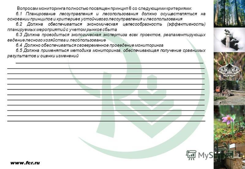 Вопросам мониторинга полностью посвящен принцип 6 со следующими критериями: 6.1 Планирование лесоуправления и лесопользования должно осуществляться на основании принципов и критериев устойчивого лесоуправления и лесопользования 6.2 Должна обеспечиват