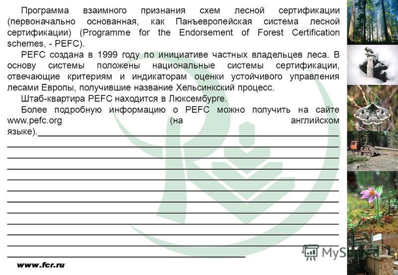 Программа взаимного признания схем лесной сертификации (первоначально основанная, как Панъевропейская система лесной сертификации) (Programme for the Endorsement of Forest Certification schemes, - PEFC). PEFC создана в 1999 году по инициативе частных
