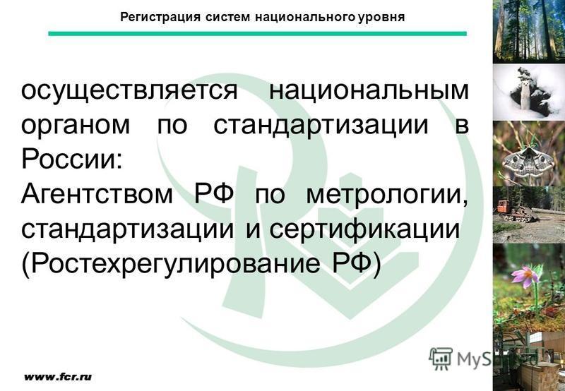 Регистрация систем национального уровня осуществляется национальным органом по стандартизации в России: Агентством РФ по метрологии, стандартизации и сертификации (Ростехрегулирование РФ)