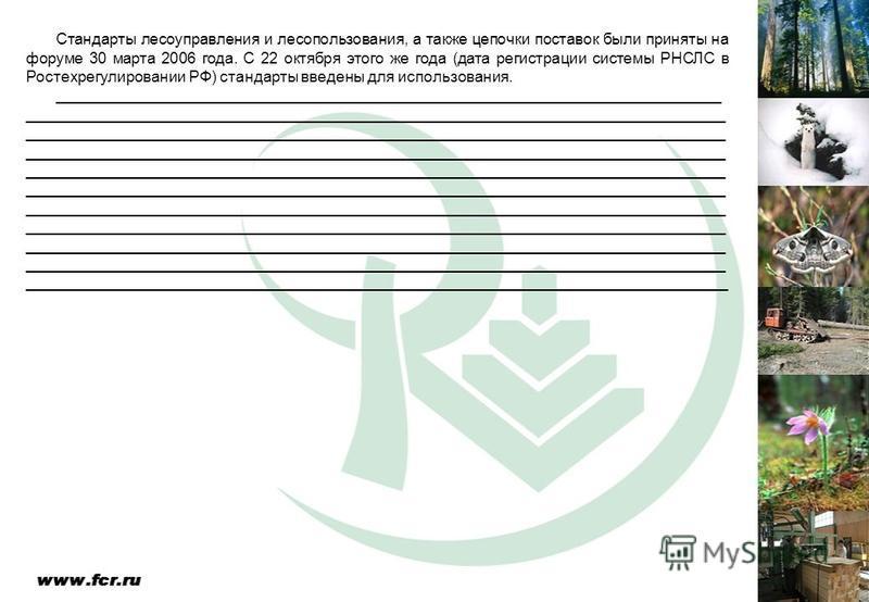 Стандарты лесоуправления и лесопользования, а также цепочки поставок были приняты на форуме 30 марта 2006 года. С 22 октября этого же года (дата регистрации системы РНСЛС в Ростехрегулировании РФ) стандарты введены для использования. ________________