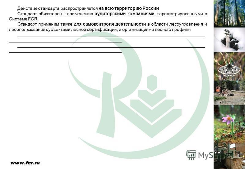 Действие стандарта распространяется на всю территорию России Стандарт обязателен к применению аудиторскими компаниями, зарегистрированными в Системе FCR Стандарт применим также для самоконтроля деятельности в области лесоуправления и лесопользования
