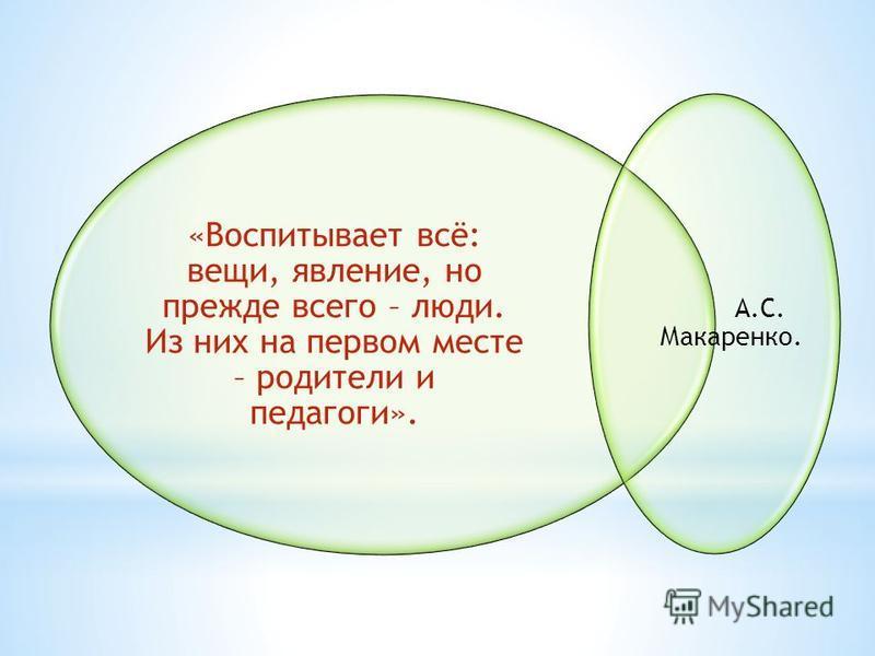 «Воспитывает всё: вещи, явление, но прежде всего – люди. Из них на первом месте – родители и педагоги». А.С. Макаренко.