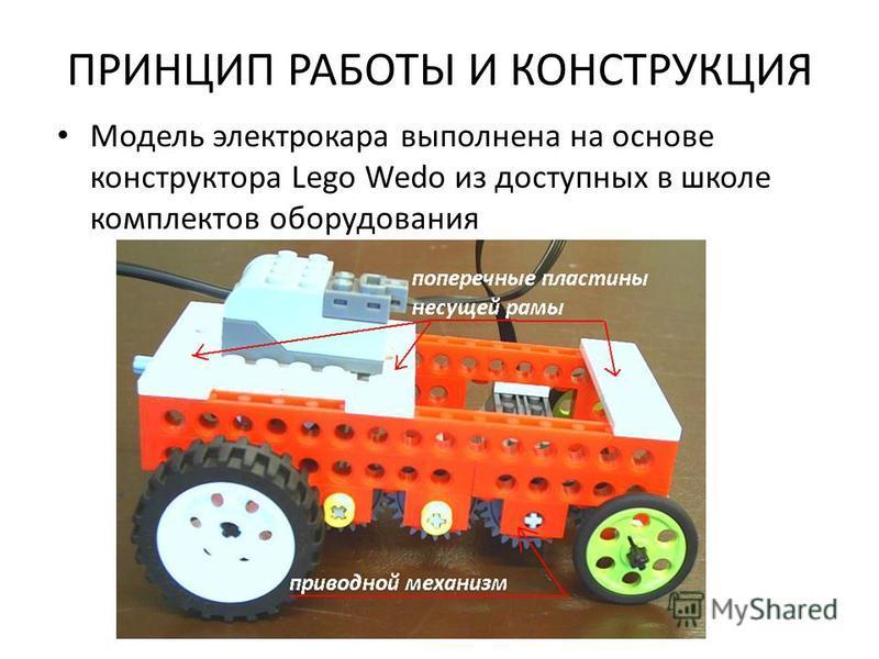 ПРИНЦИП РАБОТЫ И КОНСТРУКЦИЯ Модель электрокара выполнена на основе конструктора Lego Wedo из доступных в школе комплектов оборудования