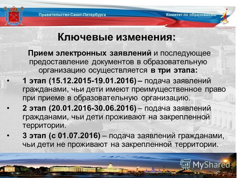 Правительство Санкт-Петербурга Комитет по образованию Ключевые изменения: Прием электронных заявлений и последующее предоставление документов в образовательную организацию осуществляется в три этапа: 1 этап (15.12.2015-19.01.2016) – подача заявлений