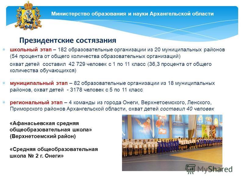 Министерство образования и науки Архангельской области Президентские состязания школьный этап – 182 образовательные организации из 20 муниципальных районов (54 процента от общего количества образовательных организаций) охват детей составил 42 729 чел