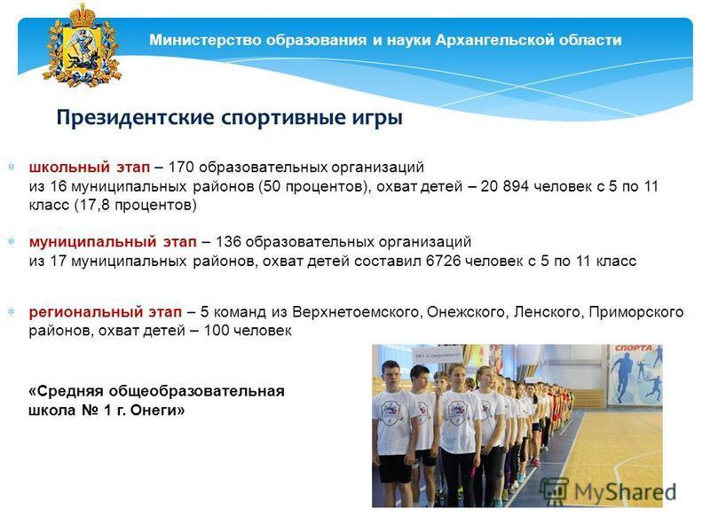 Министерство образования и науки Архангельской области Президентские спортивные игры школьный этап – 170 образовательных организаций из 16 муниципальных районов (50 процентов), охват детей – 20 894 человек с 5 по 11 класс (17,8 процентов) муниципальн