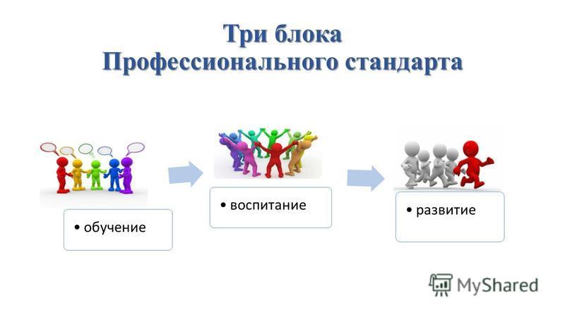 Три блока Профессионального стандарта обучение воспитание развитие