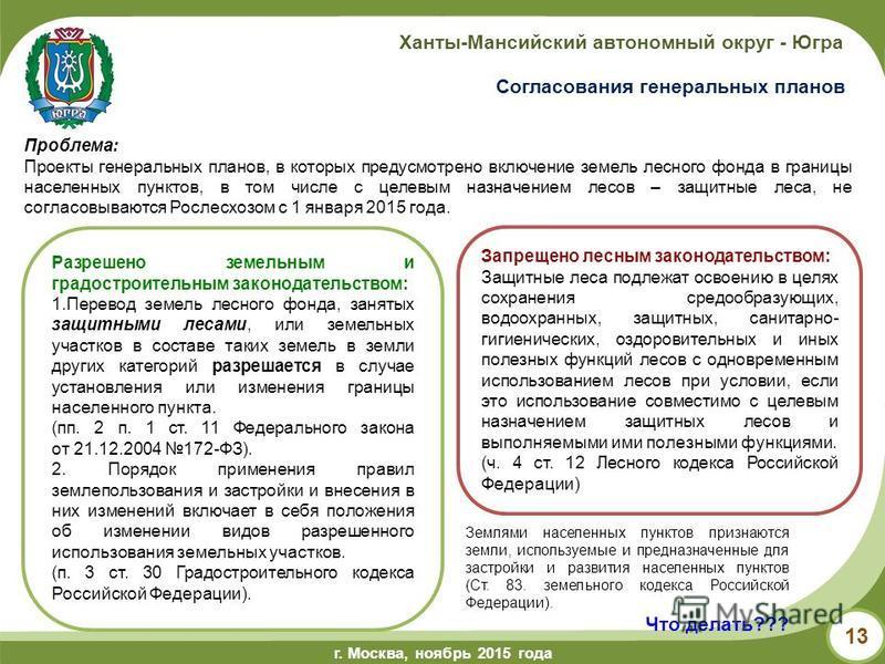 г.Ханты-Мансийск, май 2014 года г. Москва, ноябрь 2015 года Ханты-Мансийский автономный округ - Югра 13 Разрешено земельным и градостроительным законодательством: 1. Перевод земель лесного фонда, занятых защитными лесами, или земельных участков в сос