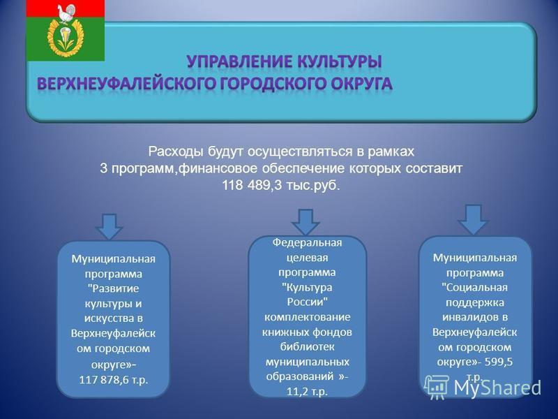 Расходы будут осуществляться в рамках 3 программ,финансовое обеспечение которых составит 118 489,3 тыс.руб. Муниципальная программа