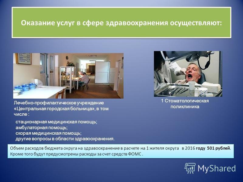 Оказание услуг в сфере здравоохранения осуществляют: Лечебно-профилактическое учреждение «Центральная городская больница», в том числе : 1 Стоматологическая поликлиника стационарная медицинская помощь; амбулаторная помощь; скорая медицинская помощь;