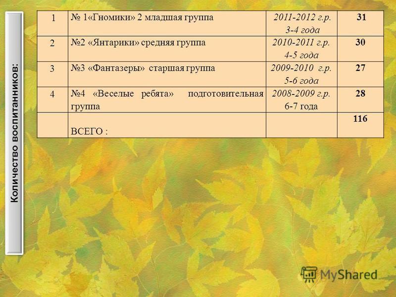 1 1«Гномики» 2 младшая группа 2011-2012 г.р. 3-4 года 31 2 2 «Янтарики» среднейяя группа 2010-2011 г.р. 4-5 года 30 3 3 «Фантазеры» старшая группа 2009-2010 г.р. 5-6 года 27 4 4 «Веселые ребята» подготовительная группа 2008-2009 г.р. 6-7 года 28 ВСЕГ