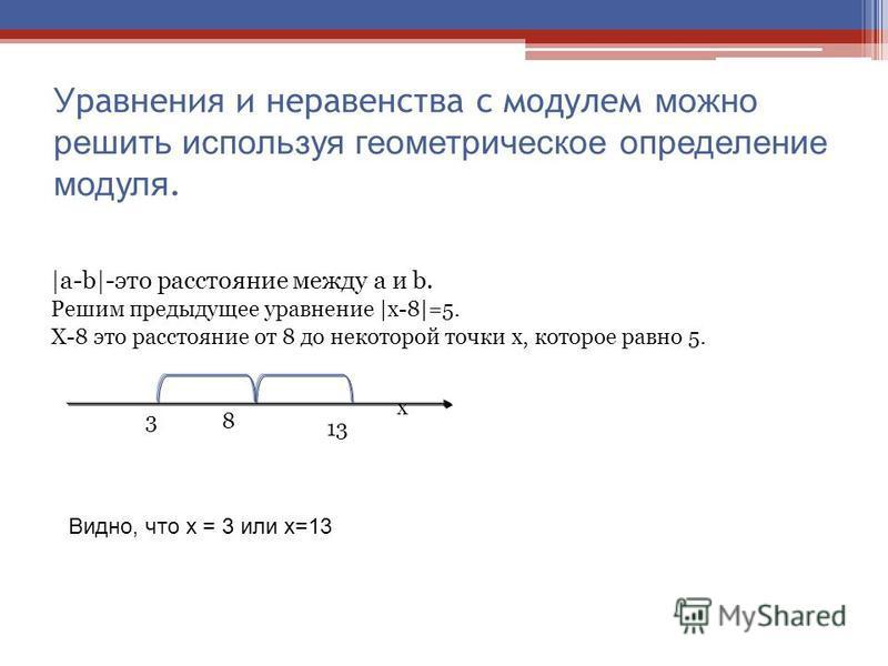У равнения и неравенства с модулем можно решить используя геометрическое определение модуля. |a-b|-это расстояние между a и b. Решим предыдущее уравнение |х-8|=5. Х-8 это расстояние от 8 до некоторой точки х, которое равно 5. x 13 38 Видно, что х = 3