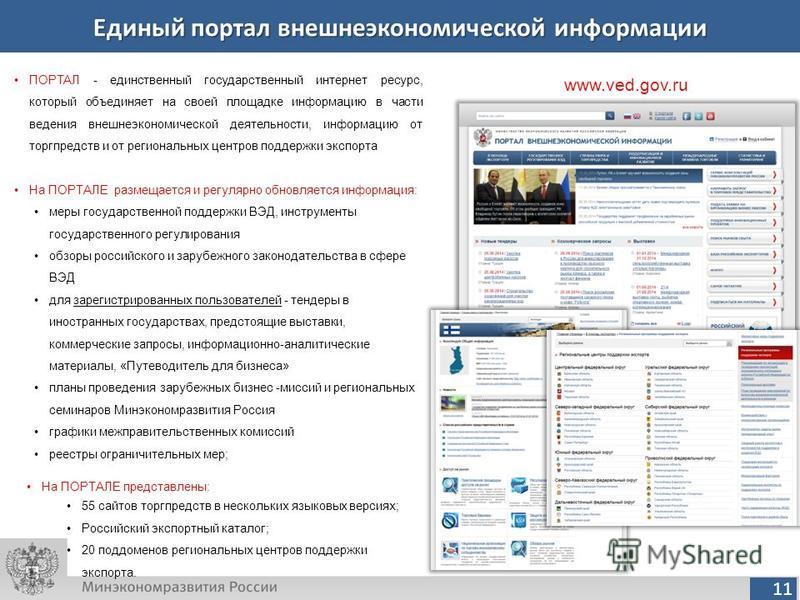 11 Единый портал внешнеэкономической информации www.ved.gov.ru ПОРТАЛ - единственный государственный интернет ресурс, который объединяет на своей площадке информацию в части ведения внешнеэкономической деятельности, информацию от торгпредств и от рег