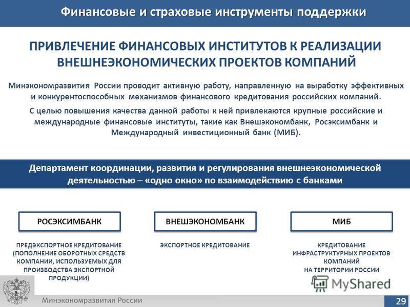 29 Финансовые и страховые инструменты поддержки ПРИВЛЕЧЕНИЕ ФИНАНСОВЫХ ИНСТИТУТОВ К РЕАЛИЗАЦИИ ВНЕШНЕЭКОНОМИЧЕСКИХ ПРОЕКТОВ КОМПАНИЙ Минэкономразвития России проводит активную работу, направленную на выработку эффективных и конкурентоспособных механи