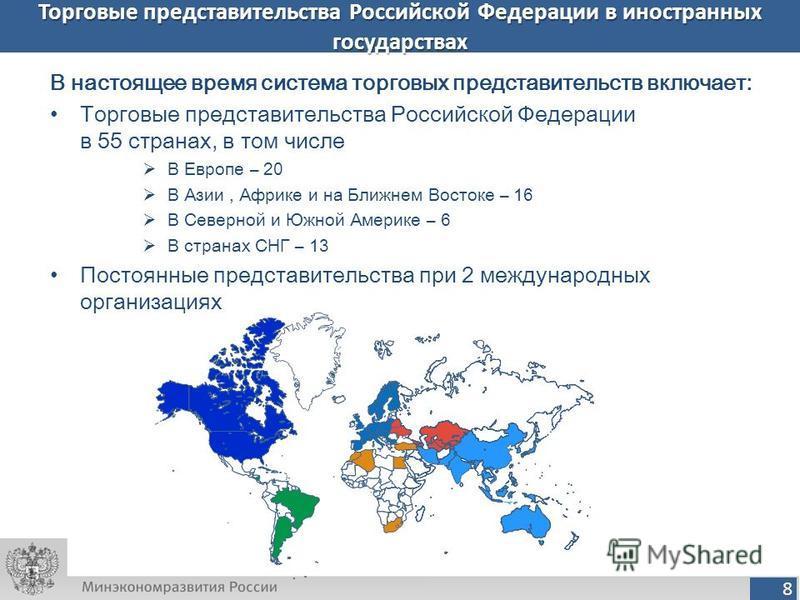 8 Торговые представительства Российской Федерации в иностранных государствах В настоящее время система торговых представительств включает: Торговые представительства Российской Федерации в 55 странах, в том числе В Европе – 20 В Азии, Африке и на Бли