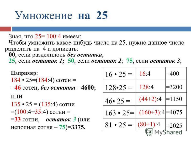 Умножение на 25 =400 =3200 =1150 =4075 =2025 16:4 128:4 (44+2):4 (160+3):4 (80+1):4 16 25 = 12825 = 46 25 = 163 25= 81 25 = Зная, что 25= 100:4 имеем: Чтобы умножить какое-нибудь число на 25, нужно данное число разделить на 4 и дописать: 00, если раз