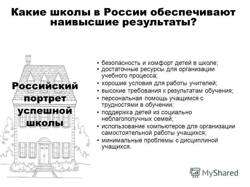 Какие школы в России обеспечивают наивысшие результаты? безопасность и комфорт детей в школе; достаточные ресурсы для организации учебного процесса; хорошие условия для работы учителей; высокие требования к результатам обучения; персональная помощь у