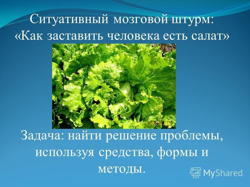 Ситуативный мозговой штурм: «Как заставить человека есть салат» Задача: найти решение проблемы, используя средства, формы и методы.