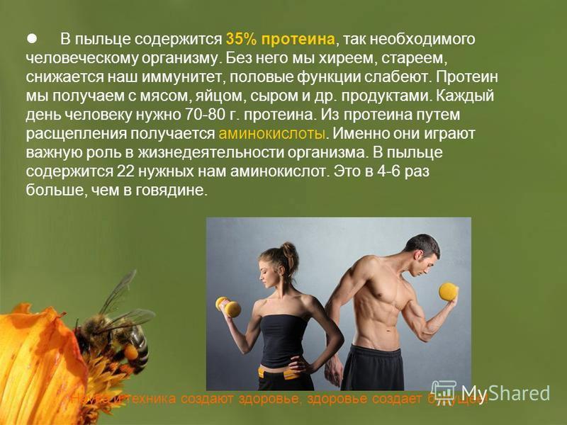 Наука и техника создают здоровье, здоровье создает будущее! В пыльце содержится 35% протеина, так необходимого человеческому организму. Без него мы хиреем, стареем, снижается наш иммунитет, половые функции слабеют. Протеин мы получаем с мясом, яйцом,