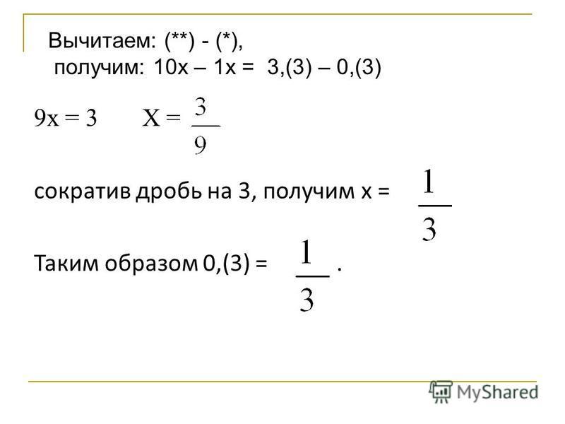 9 х = 3 Х = сократив дробь на 3, получим х = Таким образом 0,(3) =. Вычитаем: (**) - (*), получим: 10 х – 1 х = 3,(3) – 0,(3)