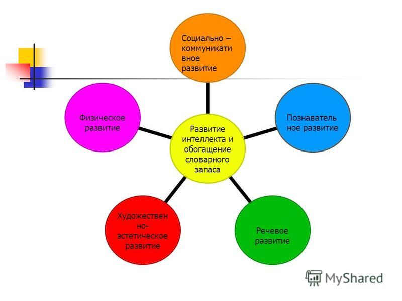 Развитие интеллекта и обогащение словарного запаса Социально – коммуникативное развитие Познавательное развитие Речевое развитие Художественно- эстетическое развитие Физическое развитие