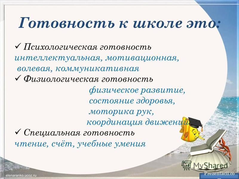 Готовность к школе это: Prezentacii.co m Психологическая готовность интеллектуальная, мотивационная, волевая, коммуникативная Физиологическая готовность физическое развитие, состояние здоровья, моторика рук, координация движений Специальная готовност