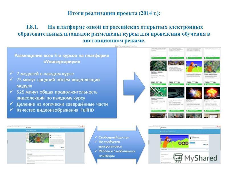 Итоги реализации проекта (2014 г.): I.8.1. На платформе одной из российских открытых электронных образоватьельных площадок размещены курсы для проведения обучения в дистанционном режиме. Размещение всех 5-и курсов на платформе «Универсариум» 7 модуле