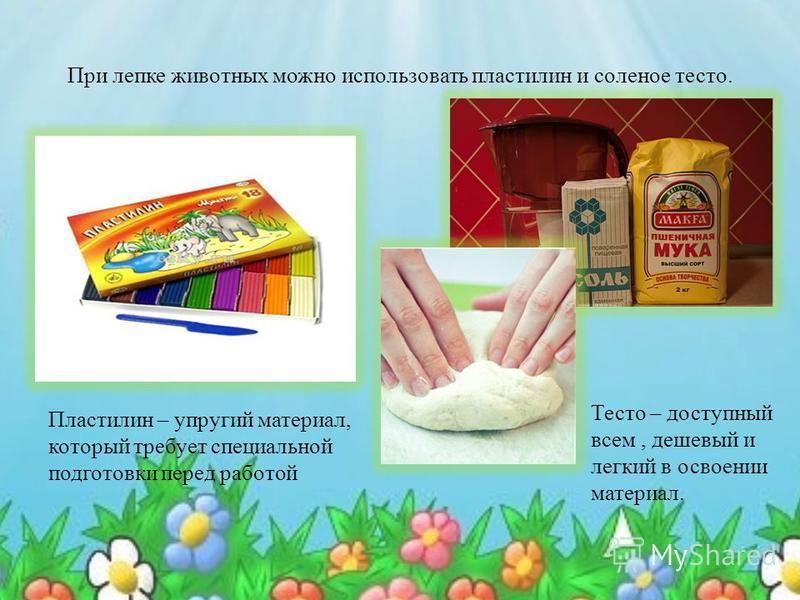 При лепке животных можно использовать пластилин и соленое тесто. Пластилин – упругий материал, который требует специальной подготовки перед работой Тесто – доступный всем, дешевый и легкий в освоении материал.