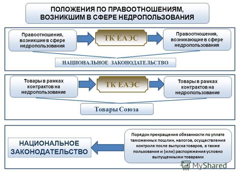 ТК ЕАЭС Правоотношения, возникшие в сфере недропользования ПОЛОЖЕНИЯ ПО ПРАВООТНОШЕНИЯМ, ВОЗНИКШИМ В СФЕРЕ НЕДРОПОЛЬЗОВАНИЯ НАЦИОНАЛЬНОЕ ЗАКОНОДАТЕЛЬСТВО Правоотношения, возникающие в сфере недропользования Товары в рамках контрактов на недропользова