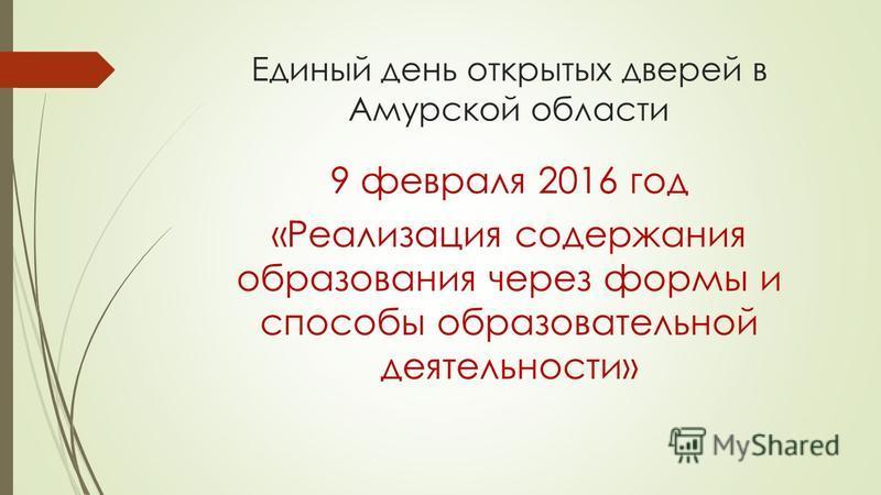 Единый день открытых дверей в Амурской области 9 февраля 2016 год «Реализация содержания образования через формы и способы образовательной деятельности»