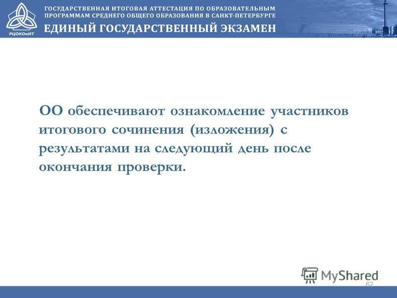 ОО обеспечивают ознакомление участников итогового сочинения (изложения) с результатами на следующий день после окончания проверки. 62