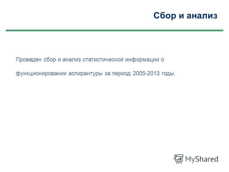 Сбор и анализ Проведен сбор и анализ статистической информации о функционировании аспирантуры за период 2005-2013 годы.
