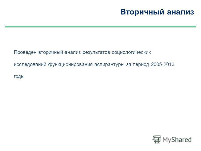 Вторичный анализ Проведен вторичный анализ результатов социологических исследований функционирования аспирантуры за период 2005-2013 годы