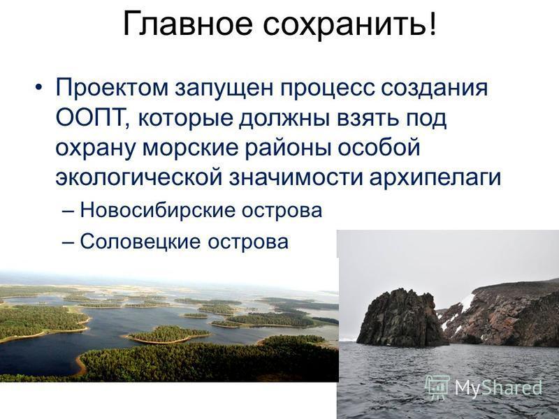 Главное сохранить ! Проектом запущен процесс создания ООПТ, которые должны взять под охрану морские районы особой экологической значимости архипелаги –Новосибирские острова –Соловецкие острова